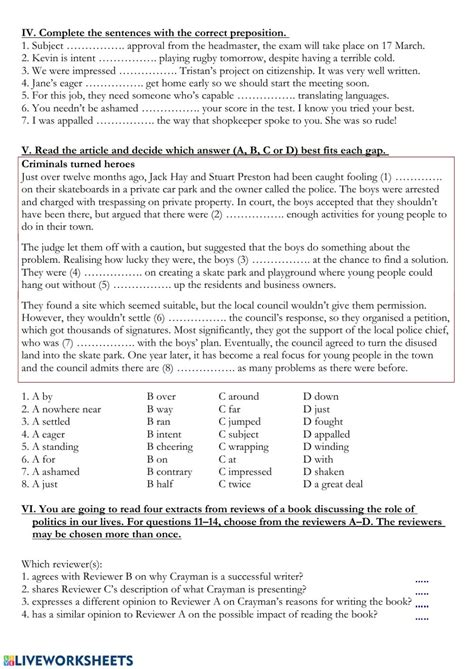 gold experience  unit  test worksheet