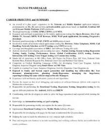 mobile testing resume for freshers manoj resume