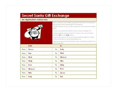 secret santa list template secret santa generator secret santa template