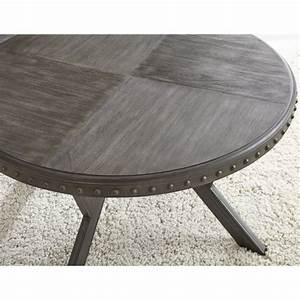Steve silver alamo round coffee table in weathered gray for Round weathered coffee table