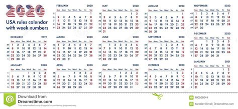 american calendar weeks illustration stock illustration
