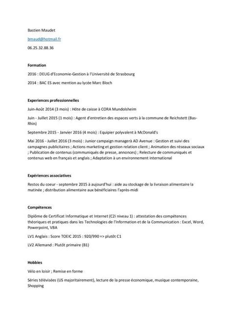 Exemple De Cv Pour Emploi by Modele Cv Pour Emploi Saisonnier Modele De Lettre Type
