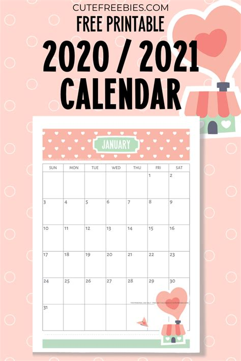 printable  calendar cutelove cute freebies