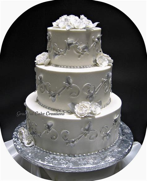 White And Silver Wedding Cake   ogvinudskillelse.website