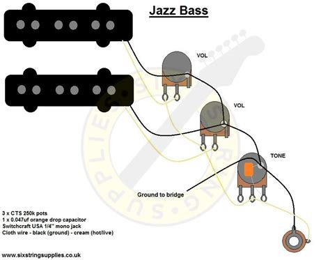 jazz bass wiring diagram bass guitar