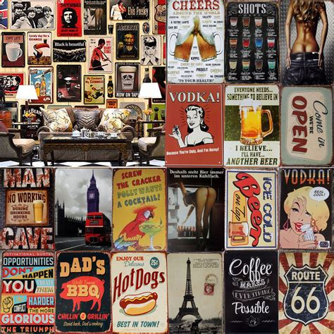 plaque deco cuisine retro vintage metal tin sign poster plaque bar bar cafe