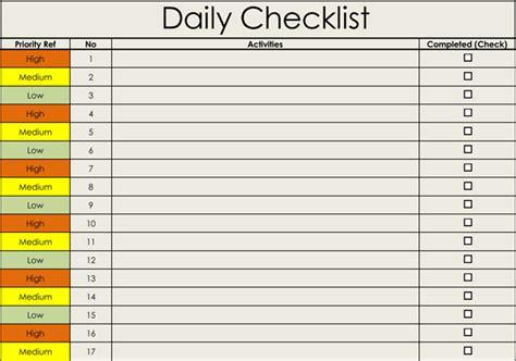 checklist templates  printable checklists  word
