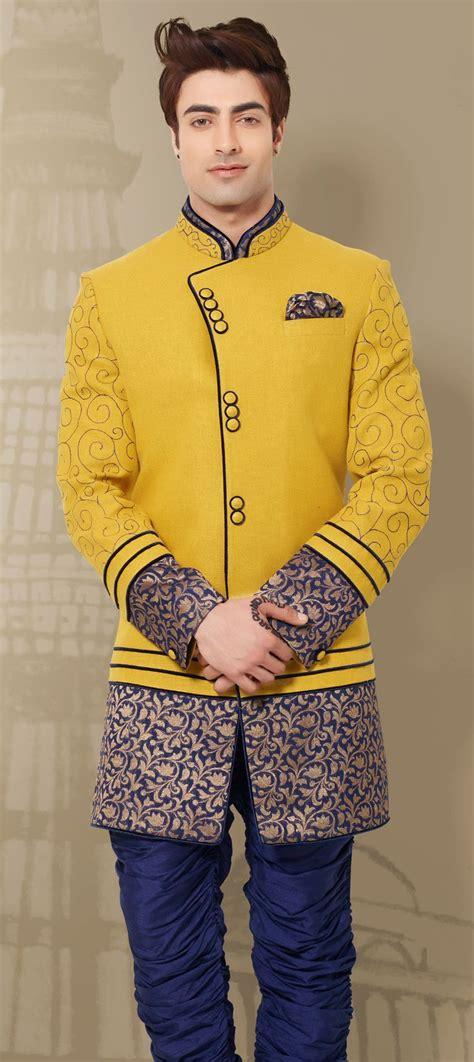khadi indowestern dress  yellow  border work party