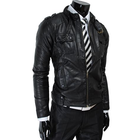 Arrow Mens luxury strap pocket slim leather jacket