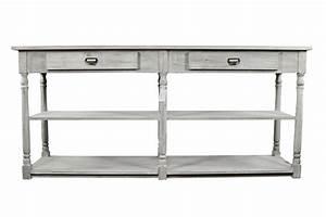 Console Bois Blanc : meuble console drapier bois ceruse blanc 2 tiroirs 190x54x87cm ~ Teatrodelosmanantiales.com Idées de Décoration