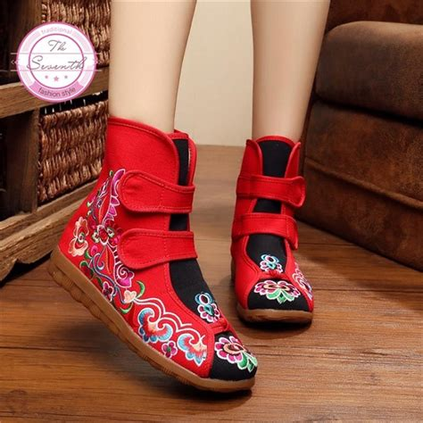 flower  beijing cloth shoes ethnic oxford bottom