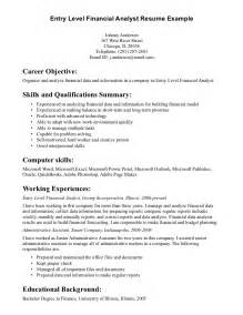 resume for entry level finance entry level financial analyst resume exle writing