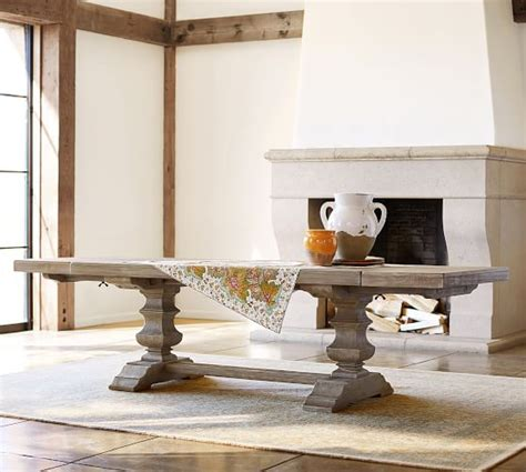 banks extending dining table grey wash pottery barn