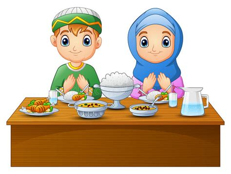 Muslim Couple Kid Praying With Blank Sign Stock Vector