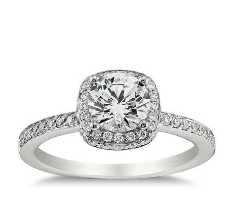 halo diamond engagement ring in 18k white gold blue nile