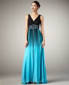 Sue Wong V-neck Ombre Gown in Blue (black turquoise o) | Lyst