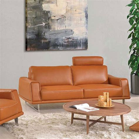 Orange Leather Loveseat by 531 Orange Leather Sofa Living Room Furniture Living