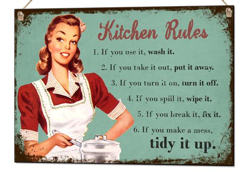 Kitchen Rules Quote Metal Sign Wall Art Home Decor Tin