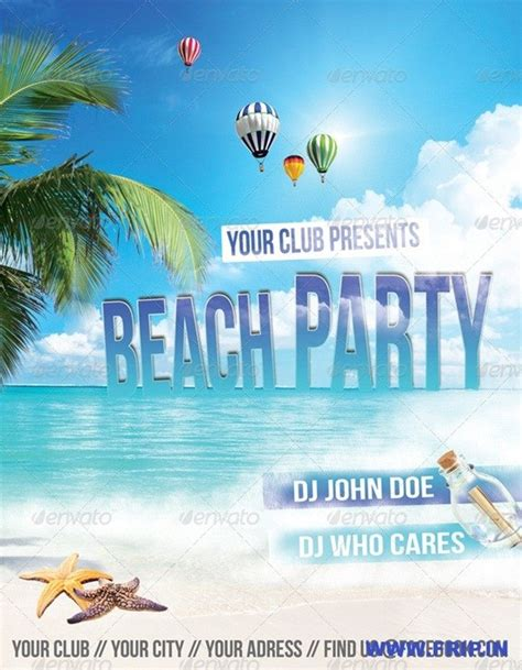 premium psd beach party flyer template