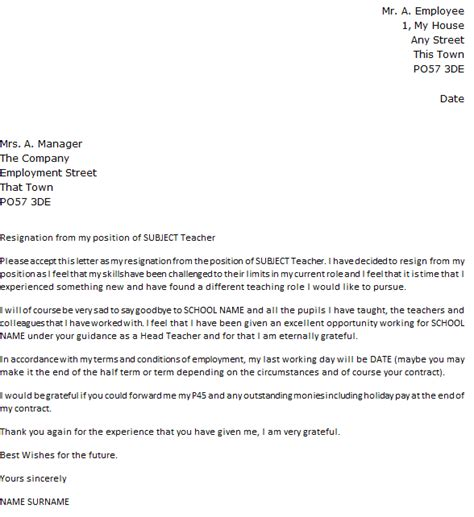 teacher resignation letter  icoverorguk