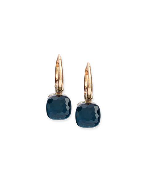 pomellato earrings lyst pomellato nudo blue topaz small drop