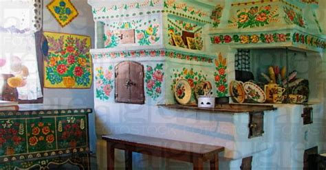 Painted Clay Oven In Painted House In Zalipie, Poland