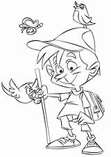 Coloring Boy Pages Hiking Printable Drawing Hikers Hitchhiker Template Sketch Games Medium Styles sketch template