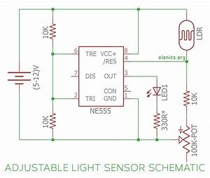 Light Sensor Circuit Using Ldr And 555 Timer Ic With