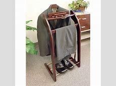 Mens Wardrobe Valet Suit Stand Wood ClothingShoes Butler