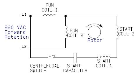 wiring configuration for dual voltage dual rotation single phase capacitor start ac
