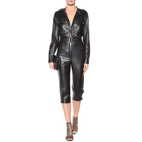 leather jumpsuits tamara mellon leather jumpsuit in black lyst