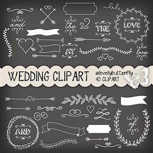 Chalkboard Wedding laurel clipart, wedding invitation ...