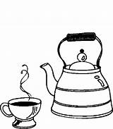 Kettle Coloring Pages Tea Cup Drinks sketch template