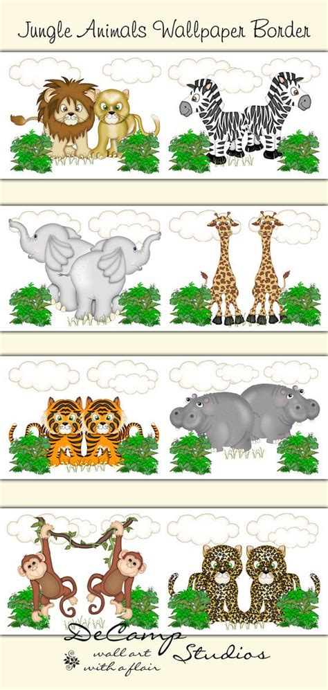 Animal Wallpaper For Children S Bedroom - safari nursery border decal wall jungle animals