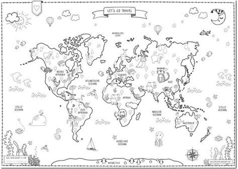 Kinder Wereldkaart Kleurplaat bol wereldkaart poster kinderen designclaud