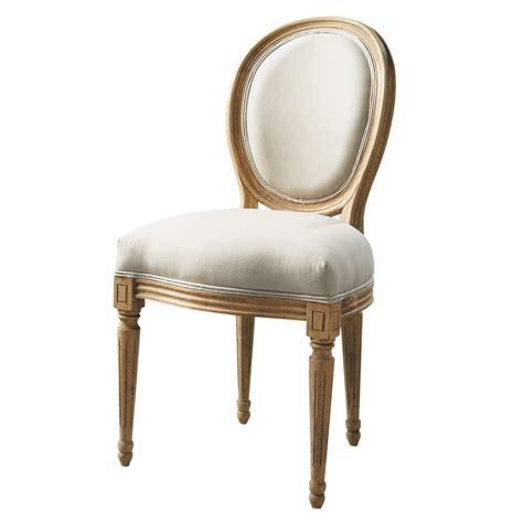 chaises maisons du monde chaise médaillon en coton et chêne massif écrue louis