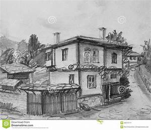 Drawing Of Traditional Old Bulgarian House Stock Image ...