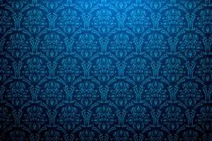 Vintage Blue Damask Background - PhotoHDX