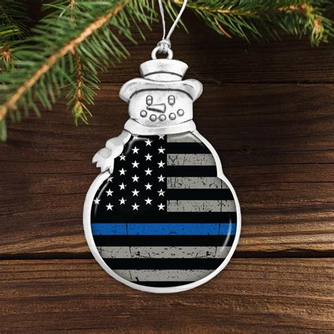thin blue  flag snowman ornament brave
