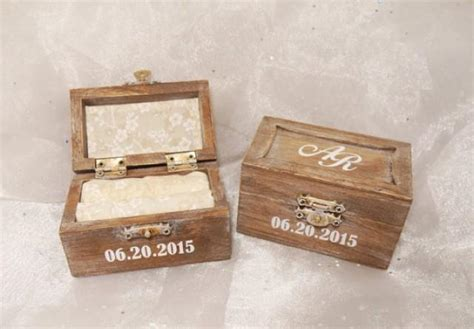 personalized initials and date wedding ring bearer ring box shabby chic wedding ring box