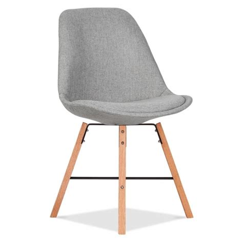 eames inspired upholstered chair cool grey with cross