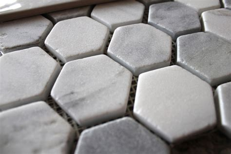 faux marble hexagon floor tile bluet clover bathroom renovation