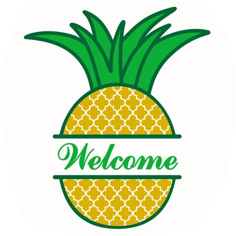 pineapple split svg cuttable frame