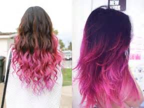 Dark Brown Hair with Ombre Pink