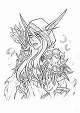 Warcraft Coloring Pages Sylvanas Artstation Elf Drawing Adult Tattoo Fantasy Windrunner Rachael Drawings Books Colouring Artwork Kunst Tattoos Sheets Wow sketch template