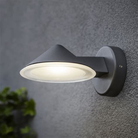 lutec cone 12w exterior led wall light in graphite