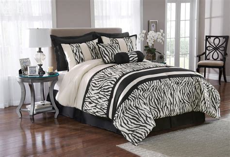 black white zebra print 8 piece bedding comforter set