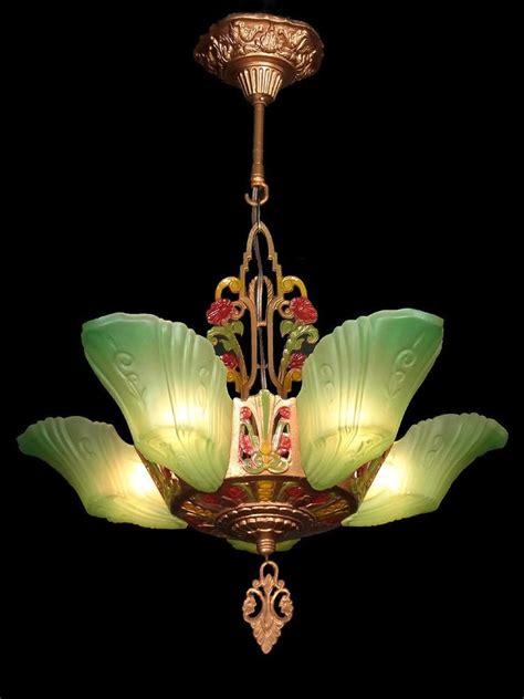 antique deco chandelier details about 360 vintage antique deco glass ceiling