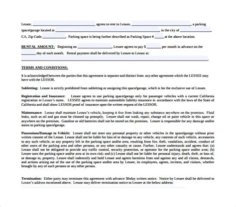 parking lease agreement templates   ms word