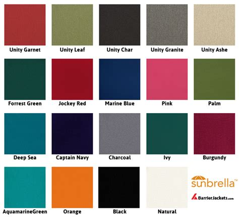 sunbrella colors sunbrella material for custom fit barricade jackets